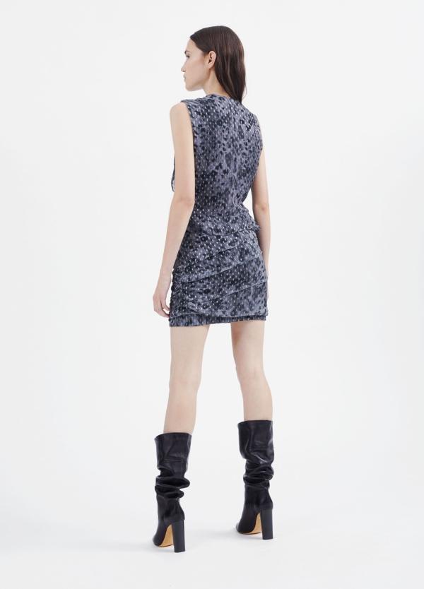 Vestido sin mangas y escote en pico color gris. 92% Visosa 8% Lúrex. - Ítem2