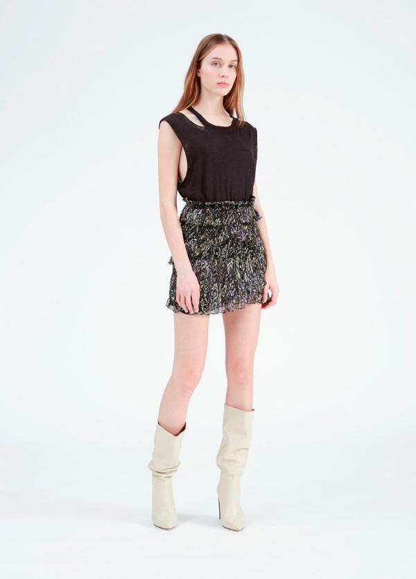 Minifalda estampada con detalles de volantes. 100% Viscosa.
