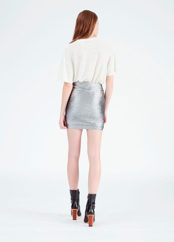 Minifalda color gris metalizado con detalle de volantes. 70% Poliéster. 30% Viscosa. - Ítem2