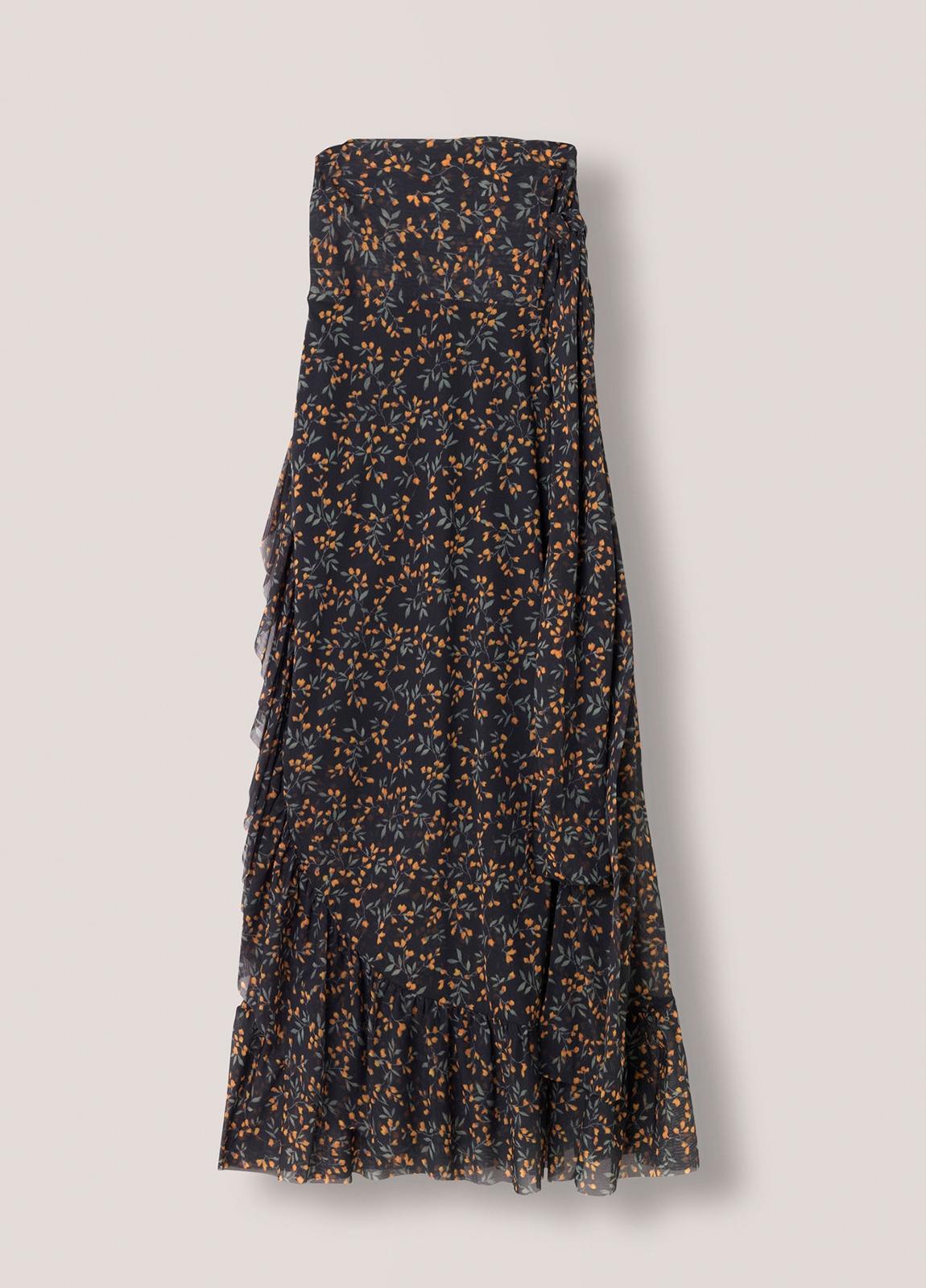 Falda larga con volantes color negro con estampado floral. 100% Poliamida. - Ítem1