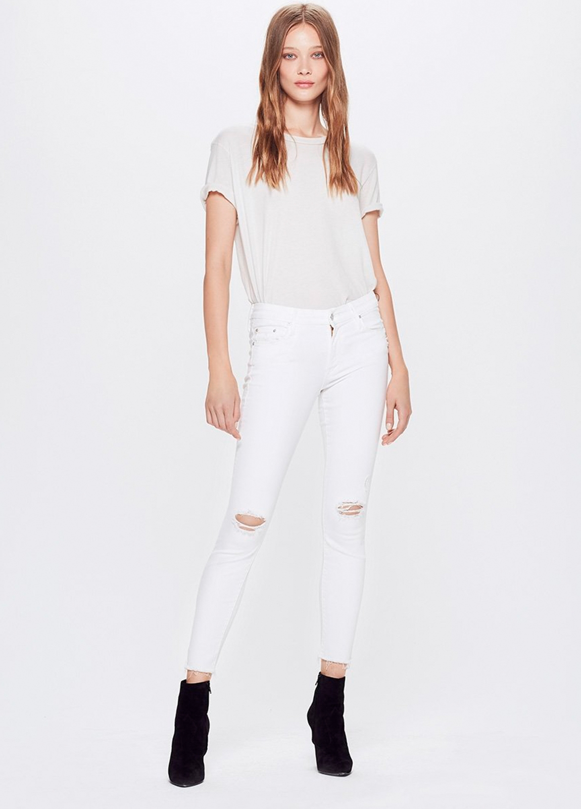 Tejano woman RIPPED KNEE JEANS color blanco. 87% Algodón 9% Poliéster 4% Elastáno.