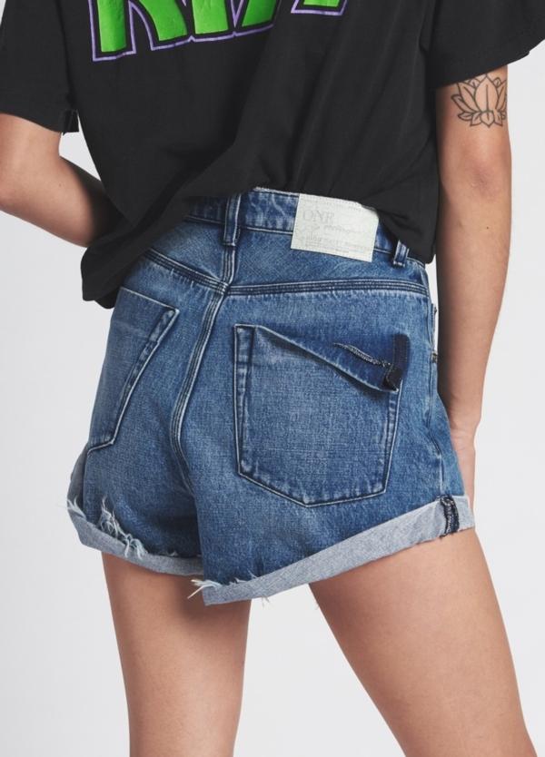 Short woman denim lavado azul de cintura alta. Algodón - Ítem1