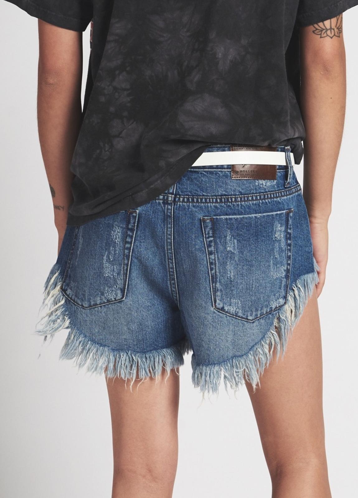 Short woman denim lavado azul de cintura baja. Algodón - Ítem1