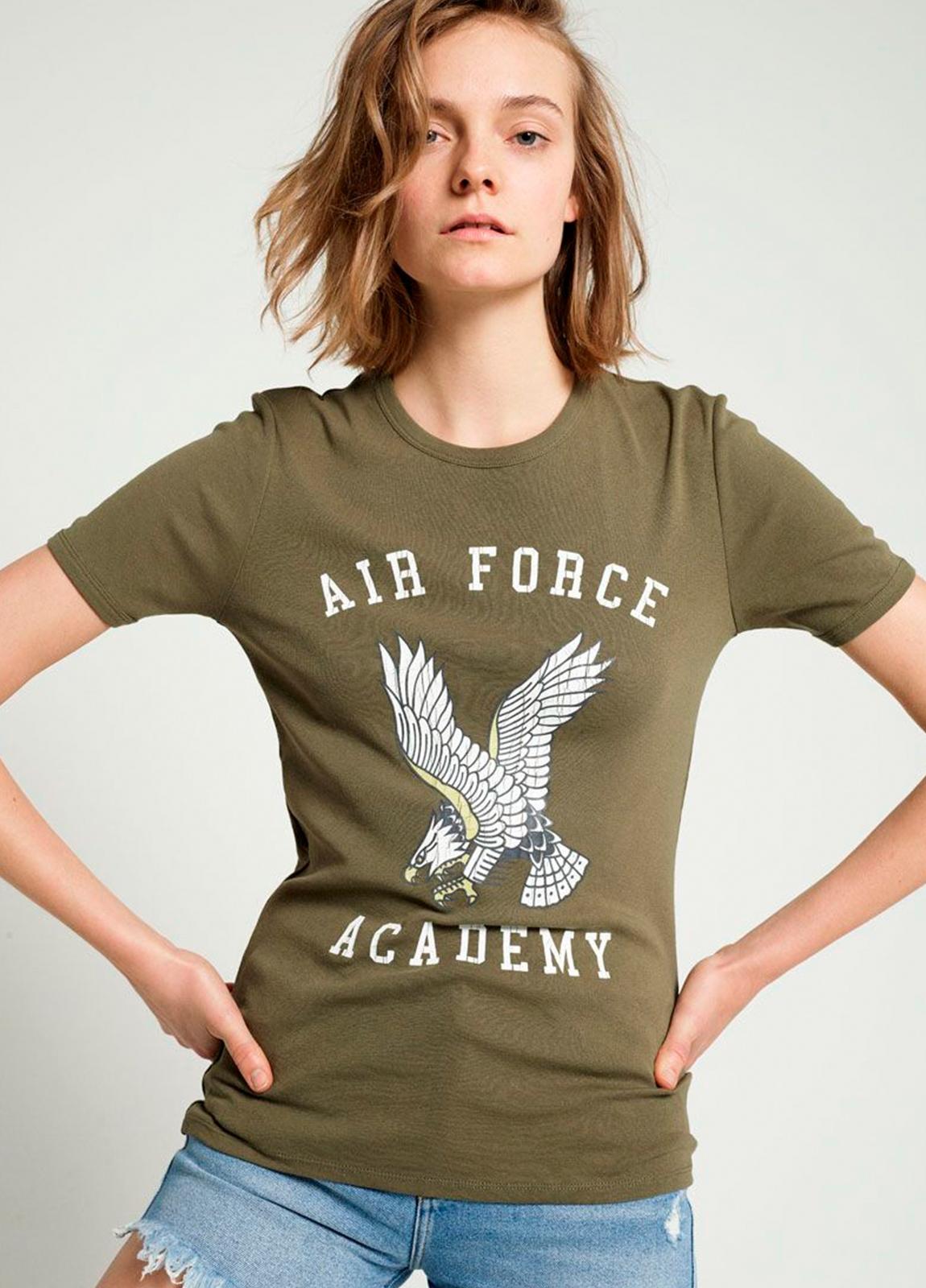 Camiseta manga corta color kaki con estampado gráfico. 100% Algodón.