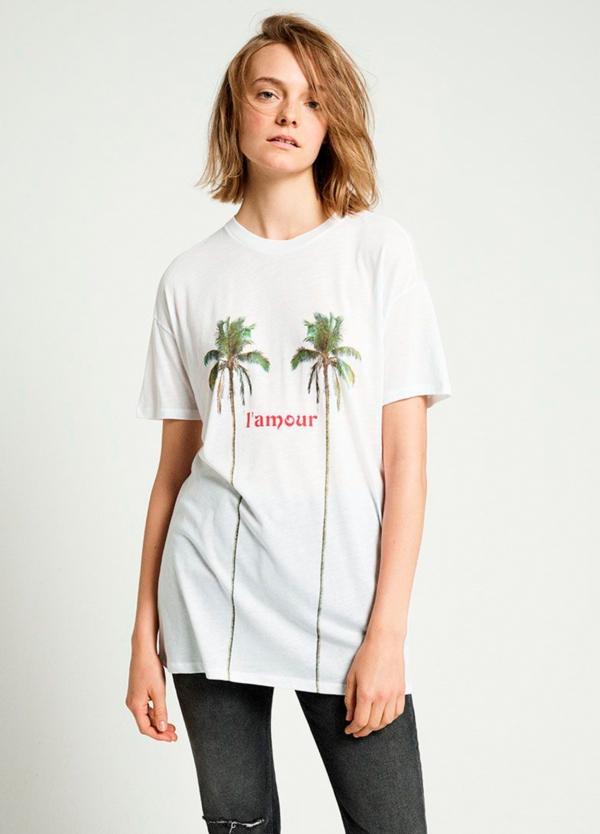 Camiseta manga corta color blanco con estampado gráfico. 100% Algodón. 50% Algodón 50% Modal.