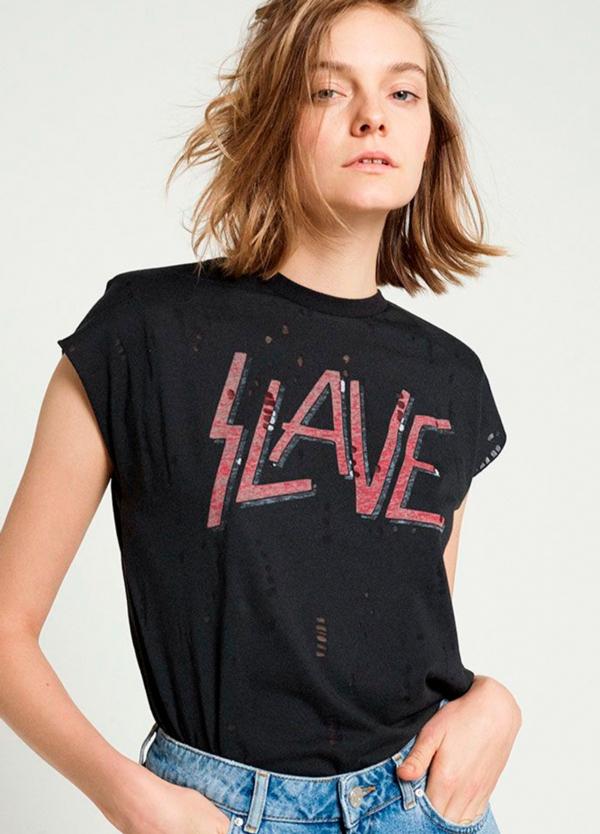 Camiseta manga corta color negro con estampado gráfico. 50% Algodón 50% Poliéster.
