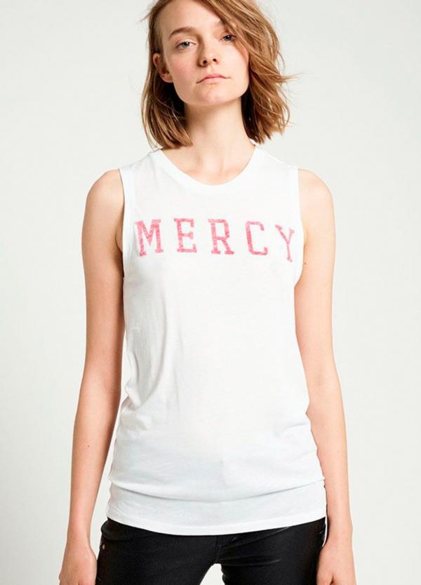 Camiseta sin mangas color blanco con estampado gráfico. 50% Algodón 50% Modal.