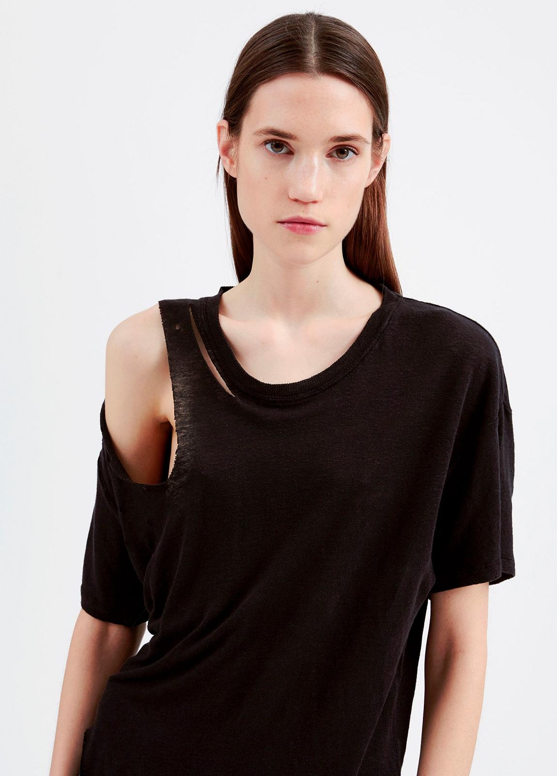 Camiseta asimétrica de manga corta color negro. 100% Lino