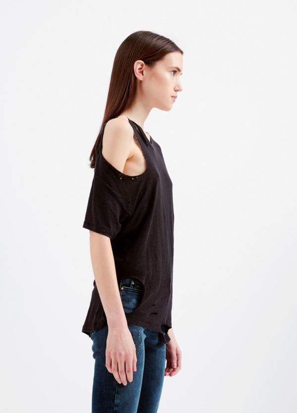 Camiseta asimétrica de manga corta color negro. 100% Lino - Ítem4