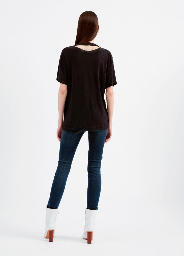 Camiseta asimétrica de manga corta color negro. 100% Lino - Ítem1