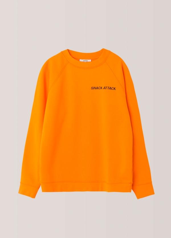 Sudadera cuello redondo color naranja. 100% Algodón. - Ítem1