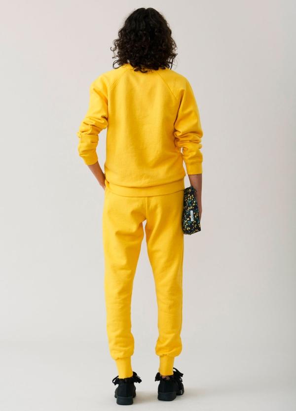 Sudadera cuello redondo color amarillo con estampado gráfico. 100% algodón. - Ítem1