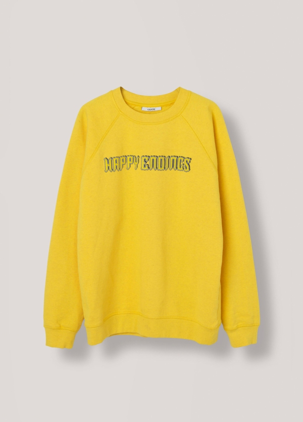 Sudadera cuello redondo color amarillo con estampado gráfico. 100% algodón. - Ítem2