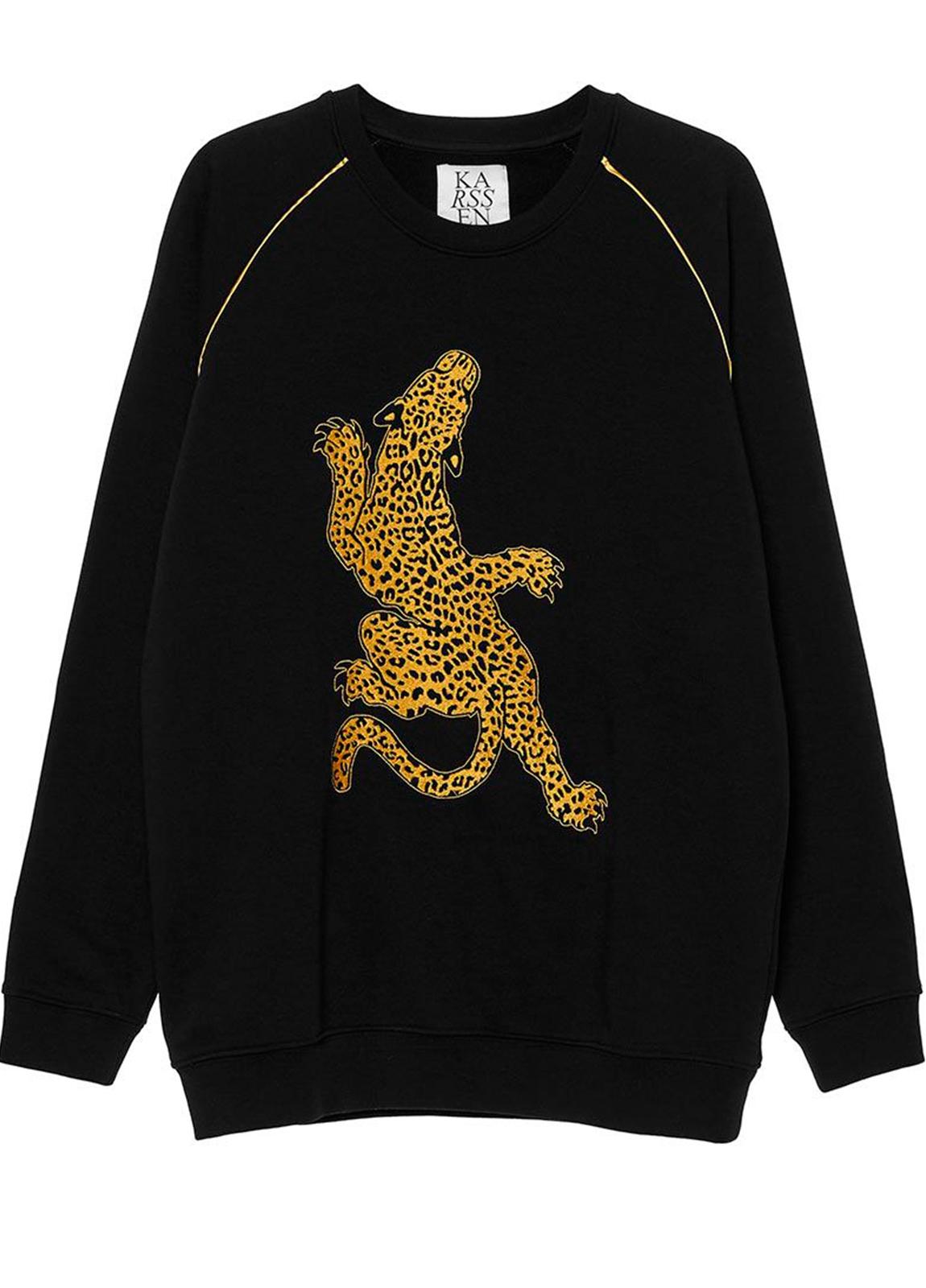 Sudadera color negro con leopardo bordado en lúrex. 86% algodón 14% Poliéster. - Ítem1