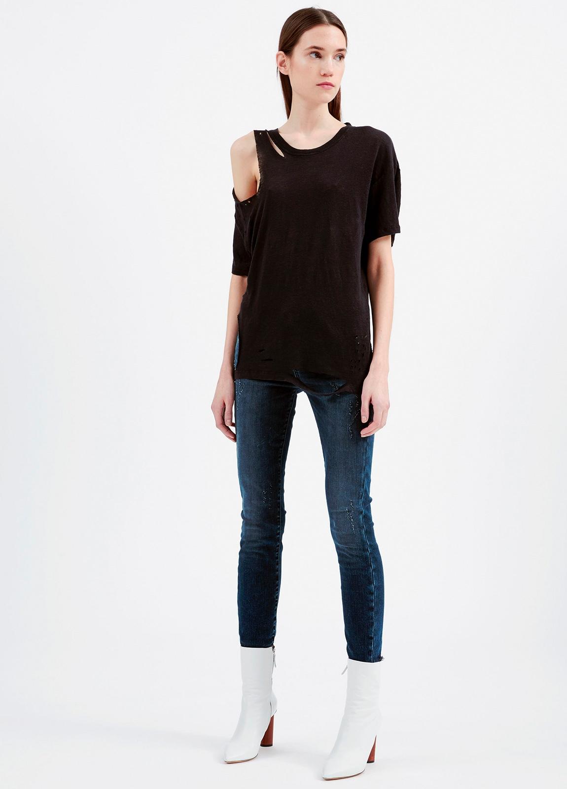 Camiseta asimétrica de manga corta color negro. 100% Lino - Ítem2