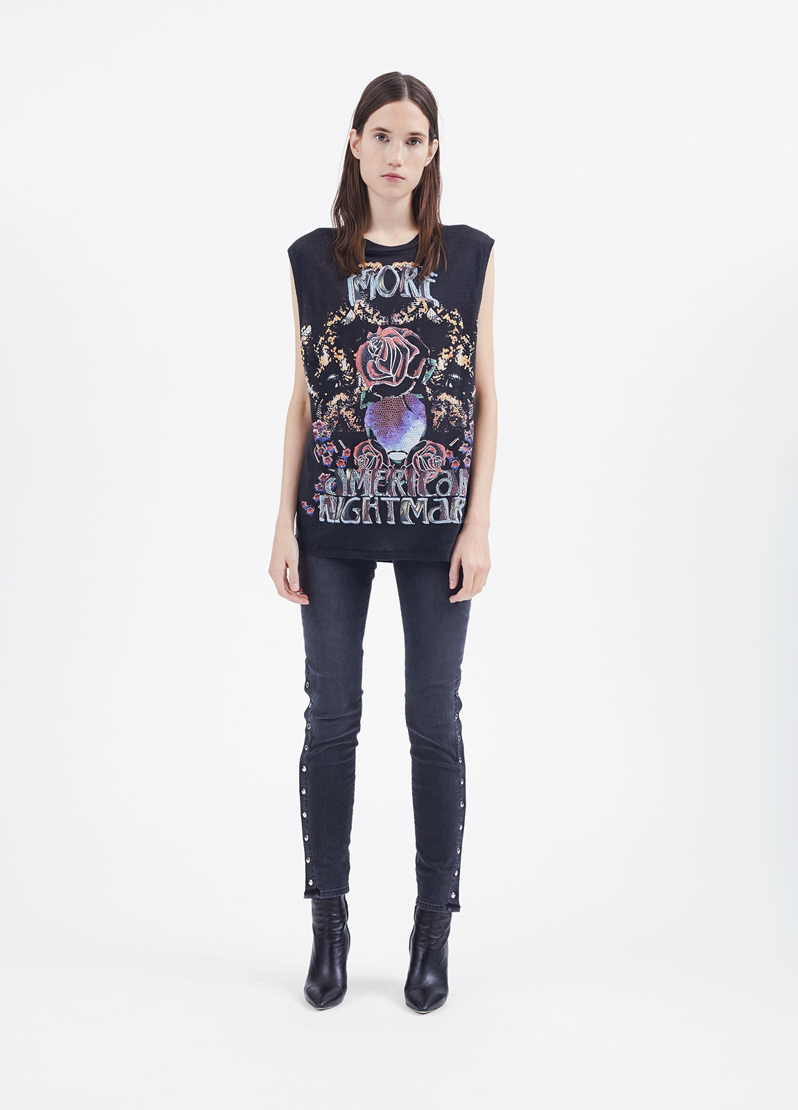Camiseta woman sin mangas color negro con dibujo frontal. 100% Lino.