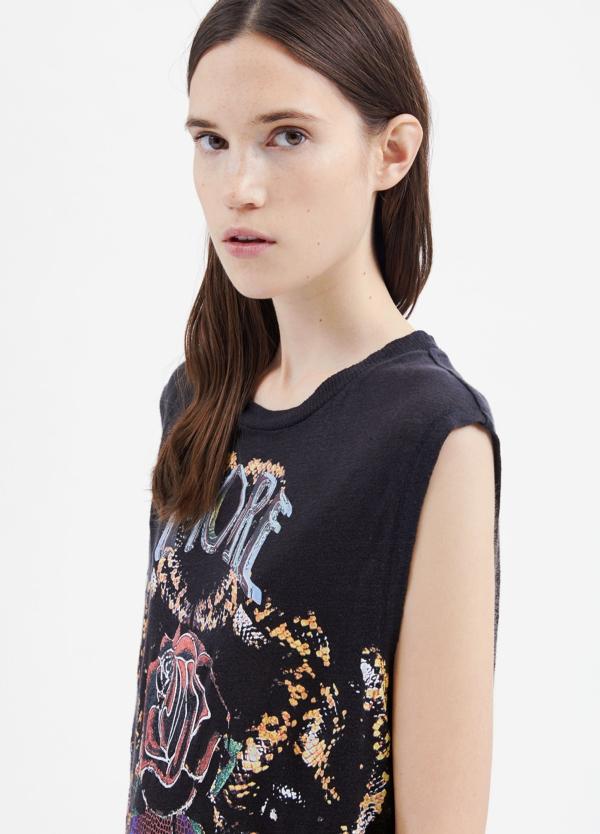 Camiseta woman sin mangas color negro con dibujo frontal. 100% Lino. - Ítem4