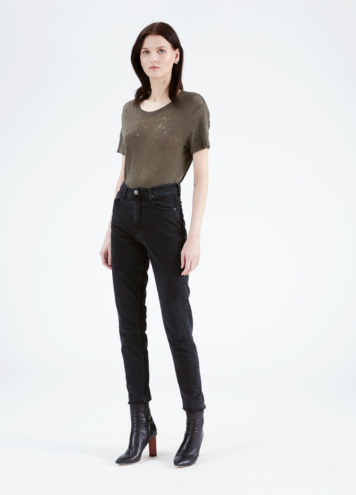 Camiseta woman color kaki con detalles calados. 100% Lino. - Ítem3