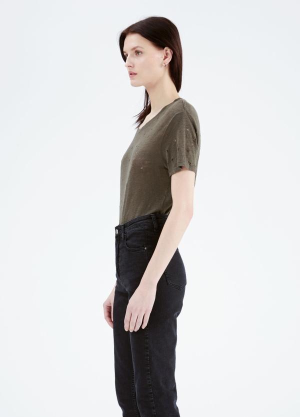 Camiseta woman color kaki con detalles calados. 100% Lino.