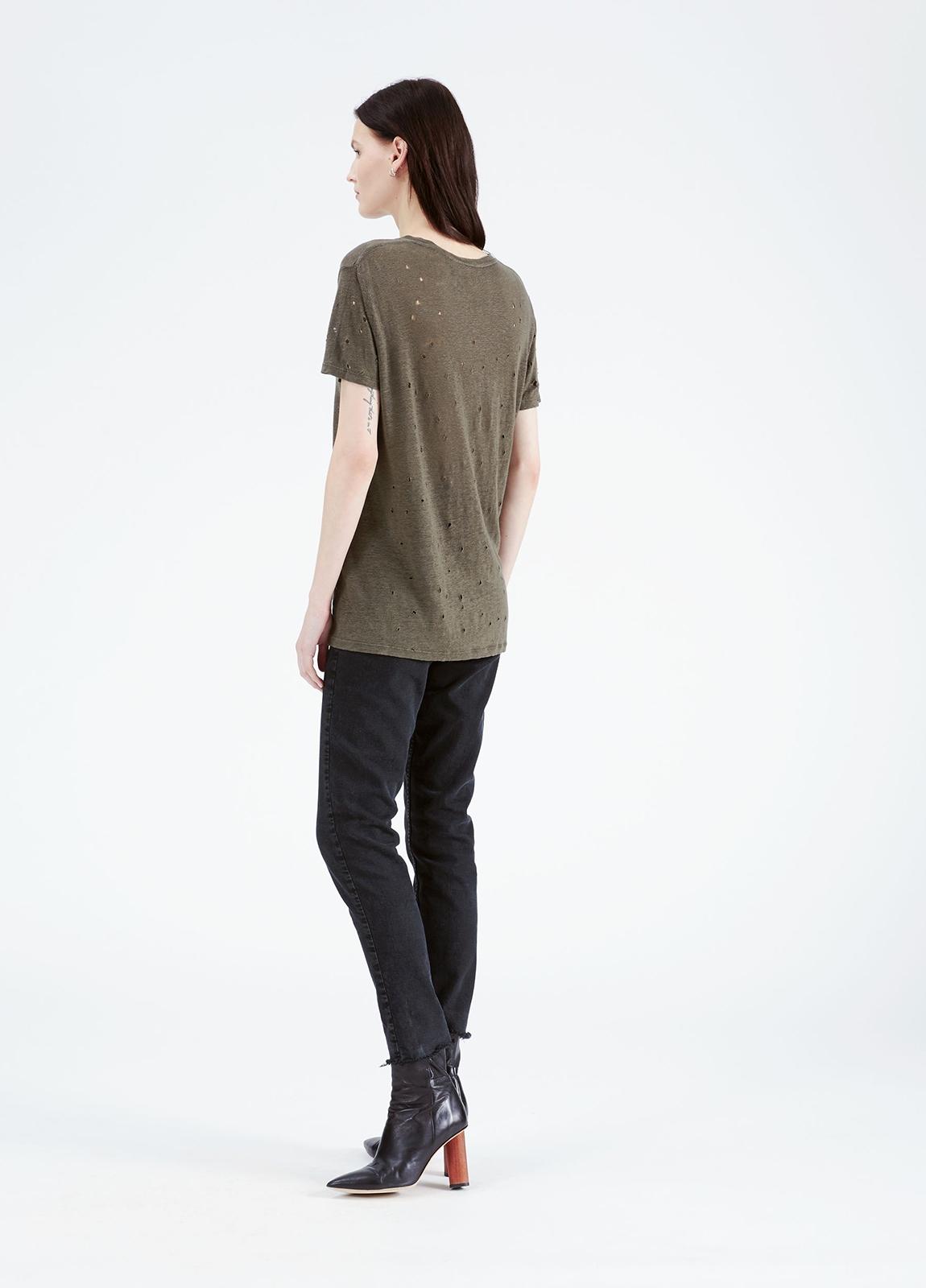 Camiseta woman color kaki con detalles calados. 100% Lino. - Ítem2