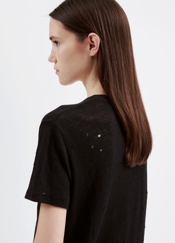 Camiseta woman color negro con detalles calados. 100% Lino.