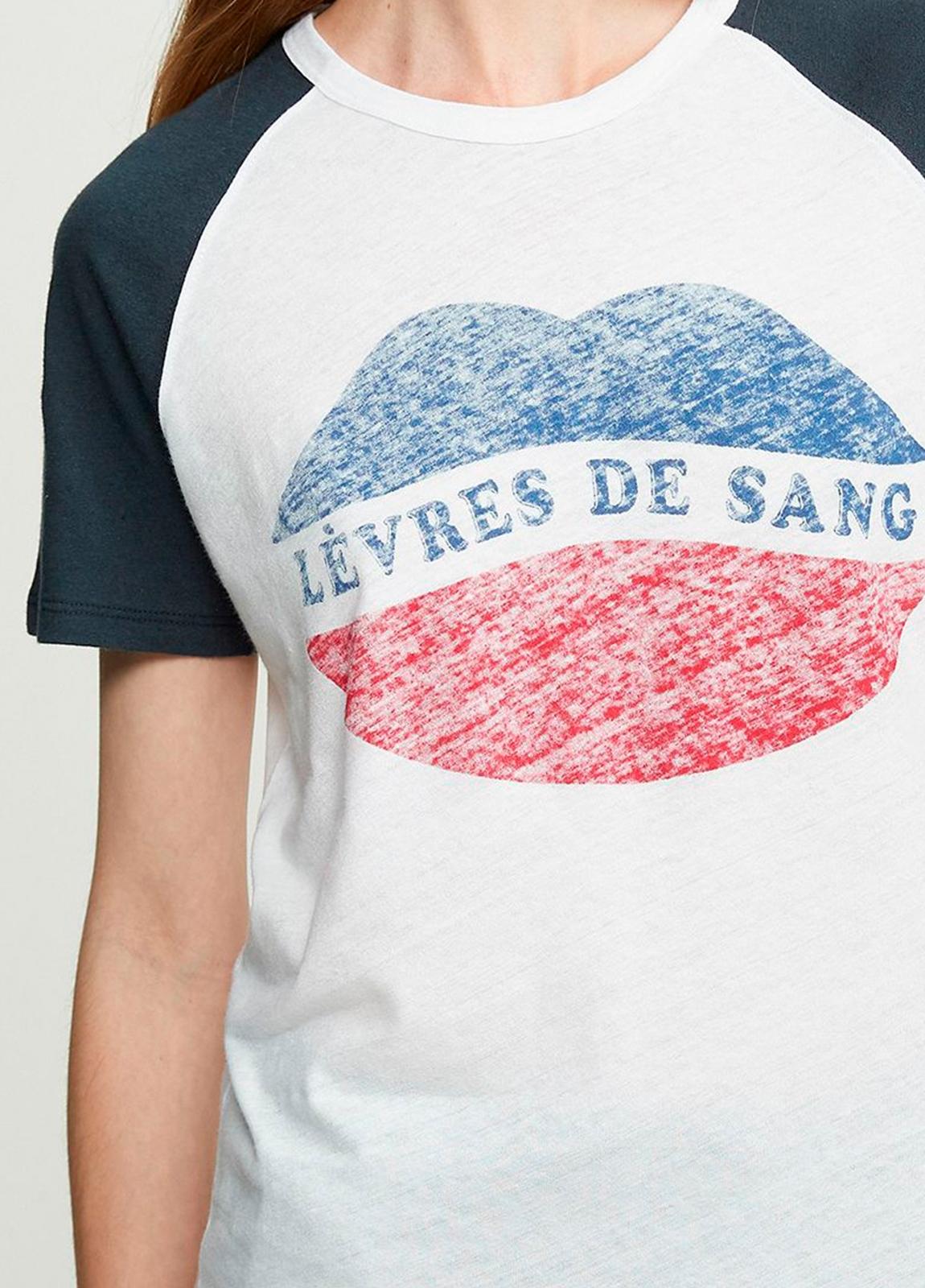 Camiseta manga corta color blanco con estampado gráfico. 80% Algodón 20% Lino. - Ítem1