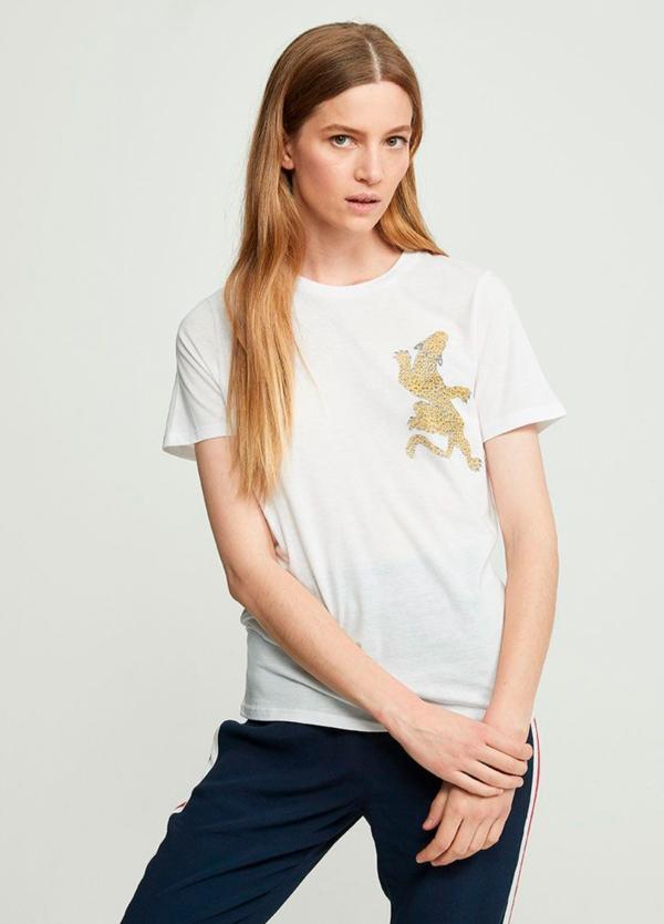 Camiseta manga corta color blanco con leopardo bordado. 50% Algodón 50% Modal.
