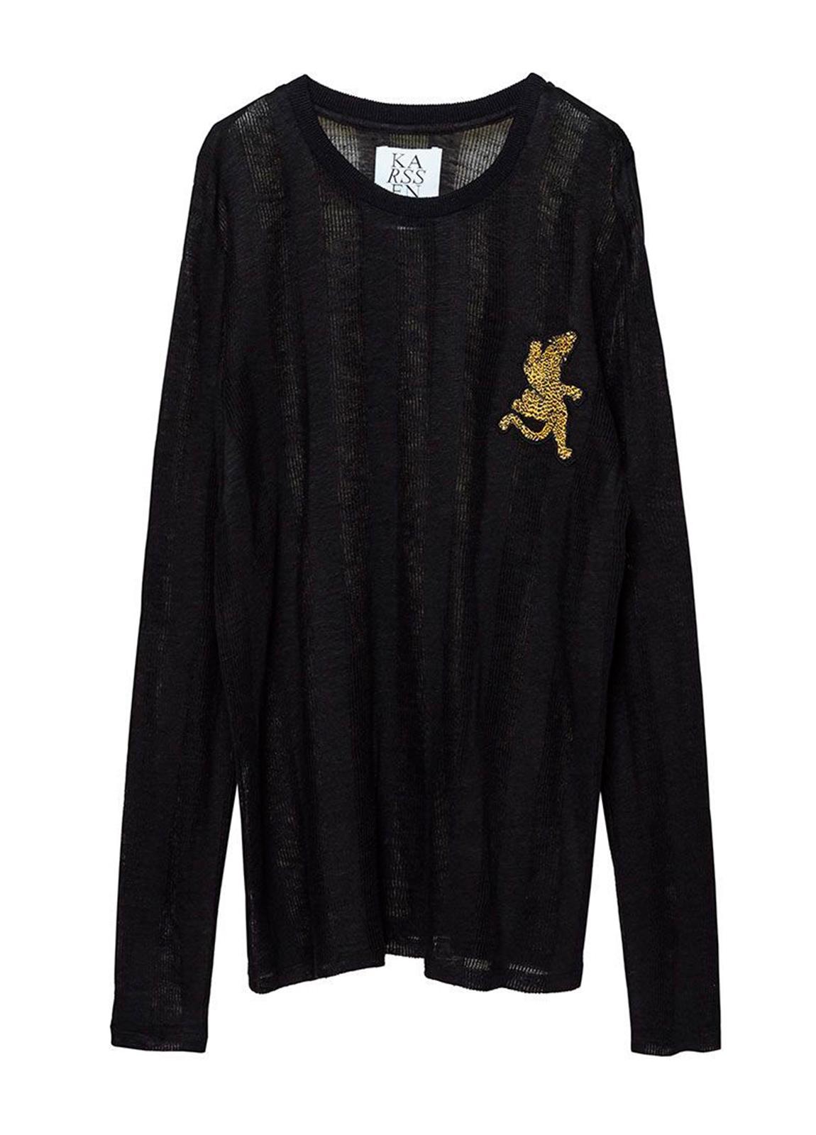 Camiseta manga larga semitransparente color negro con leopardo bordado. 100% Lino. - Ítem1