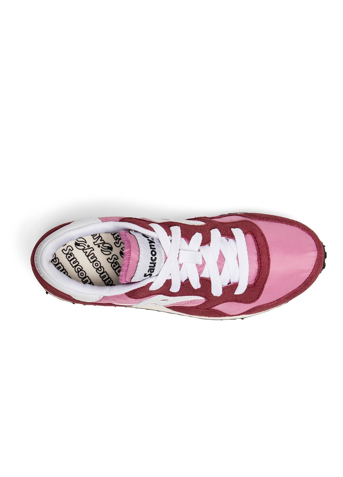 Bamba woman modelo VINT TRAINER color granate y rosa con detalles blancos. Combinación de serraje, tejido técnico y detalles en piel. - Ítem1