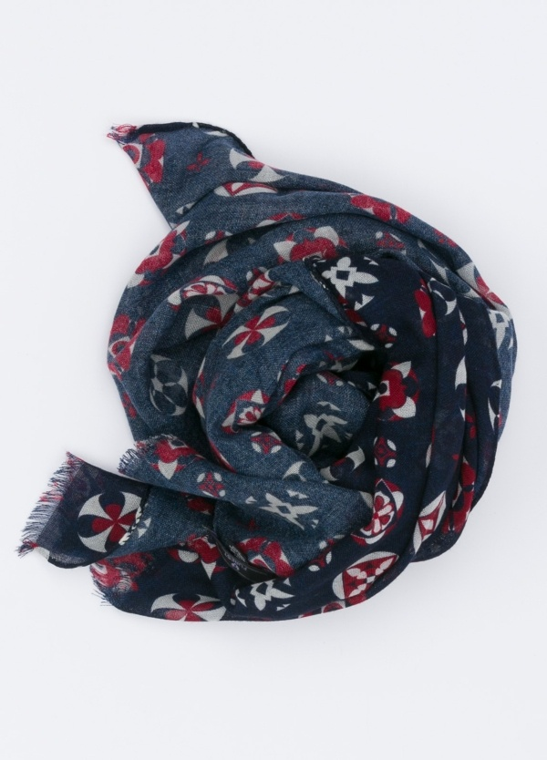 Foulard estampado color azul, 60 x 180 cm.