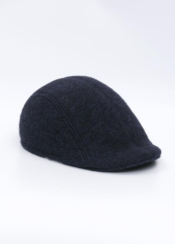 Gorra tipo ascot color azul noche tejido de lana con diseño jaspeado.