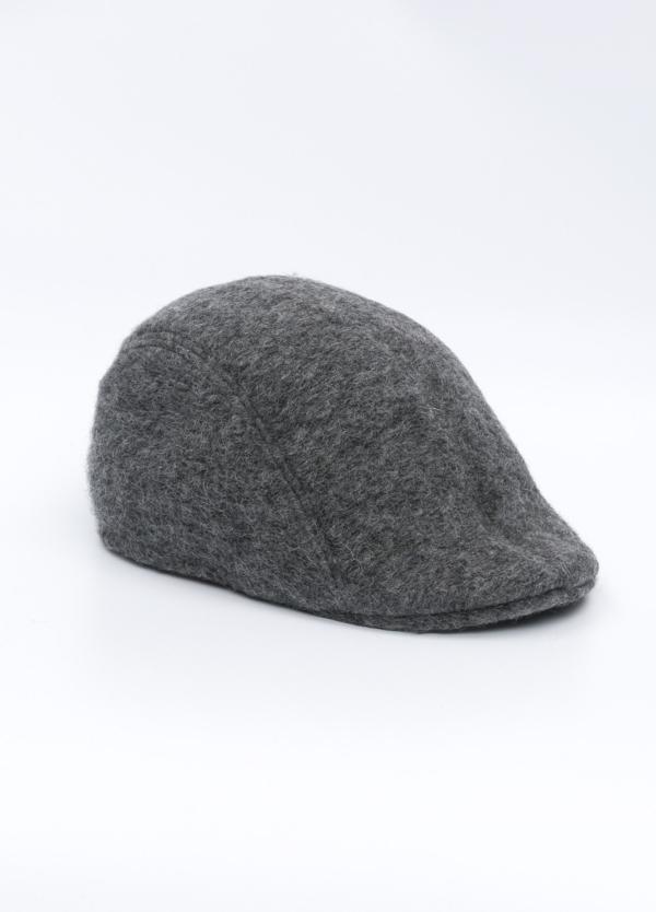 Gorra tipo ascot color gris medio tejido de lana con diseño jaspeado.