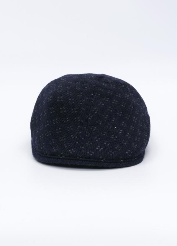 Gorra tipo ascot de punto, color azul noche y estampado geométrico. Lana.