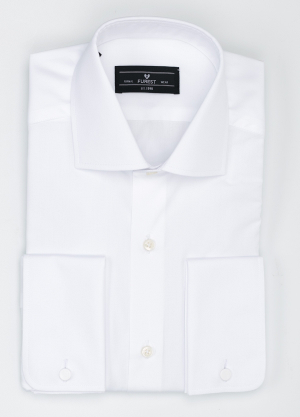 Camisa Formal Wear REGULAR FIT cuello italiano modelo TAILORED NAPOLI color blanco, 100% Algodón.