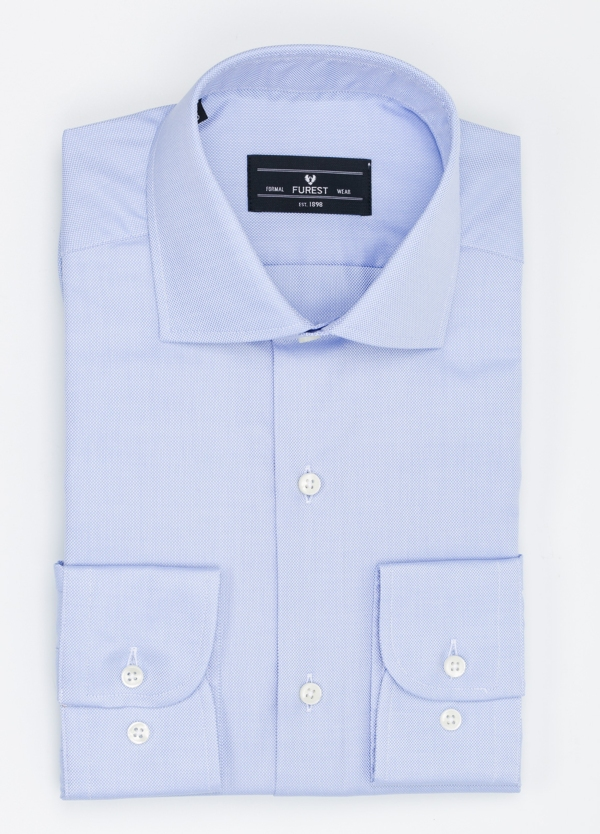 Camisa Formal Wear REGULAR FIT cuello italiano modelo TAILORED NAPOLI color azul, 100% Algodón.