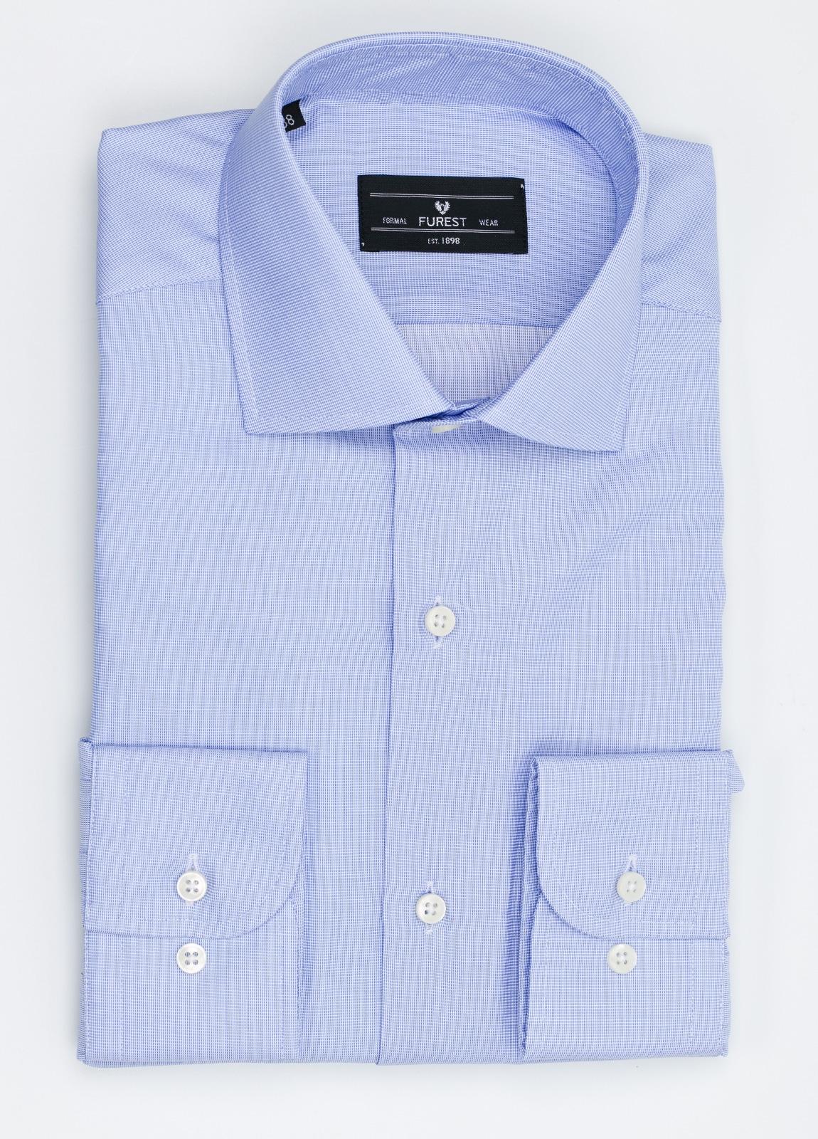 Camisa Formal Wear REGULAR FIT cuello italiano modelo TAILORED NAPOLI color azul, 100% Algodón.