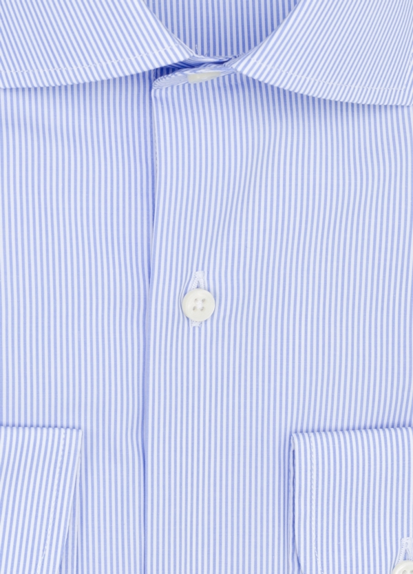 Camisa Formal Wear REGULAR FIT cuello italiano modelo TAILORED NAPOLI diseño rayas color azul, 100% Algodón. - Ítem1