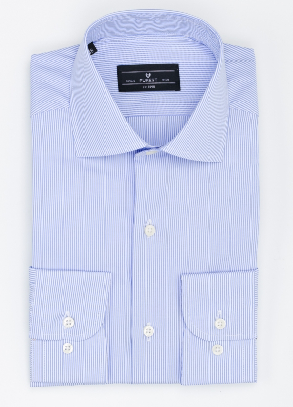 Camisa Formal Wear REGULAR FIT cuello italiano modelo TAILORED NAPOLI diseño rayas color azul, 100% Algodón.