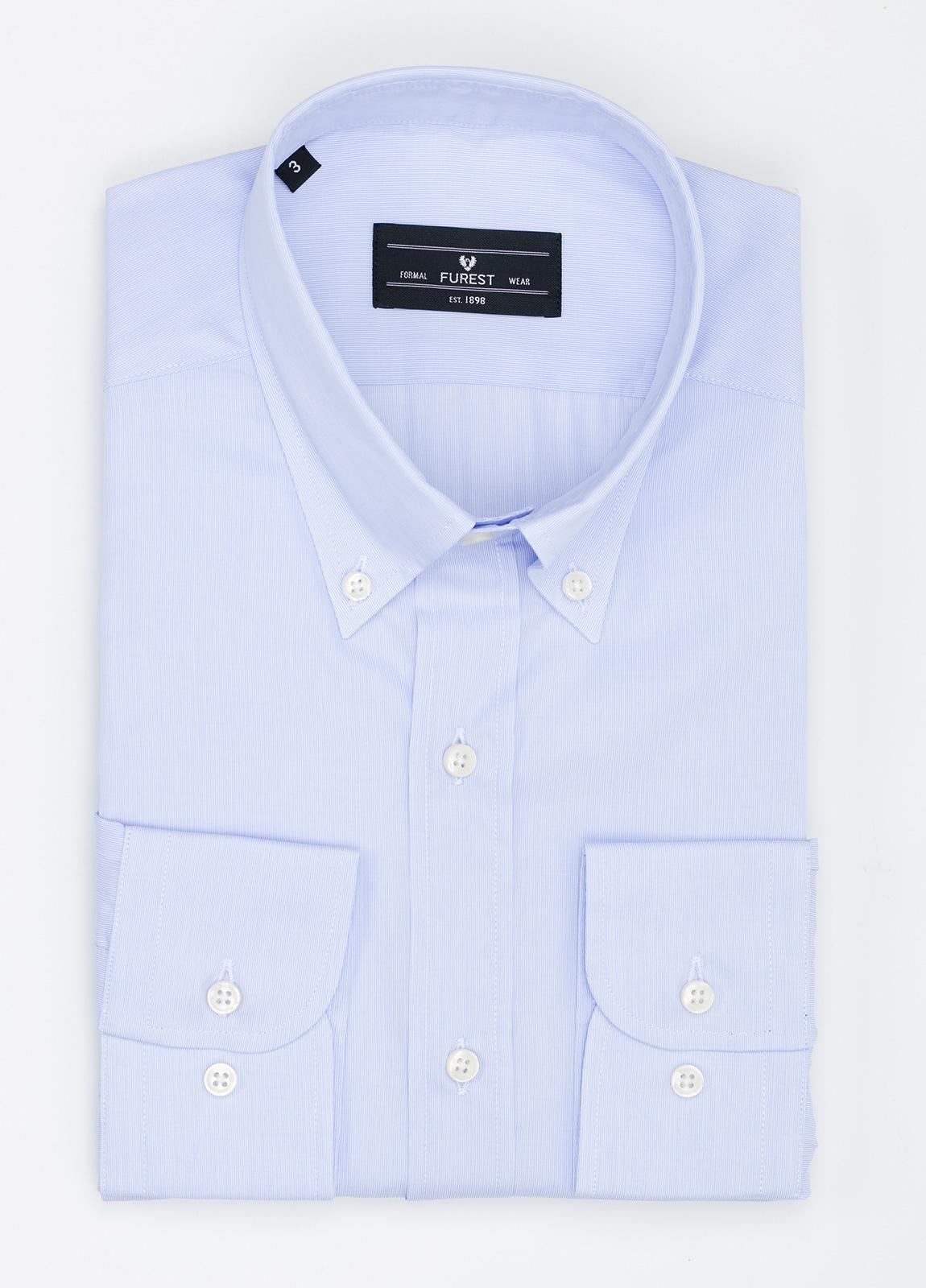 Camisa Formal Wear REGULAR FIT modelo BOTTON DOWN tejido pique color azul. 100% Algodón.