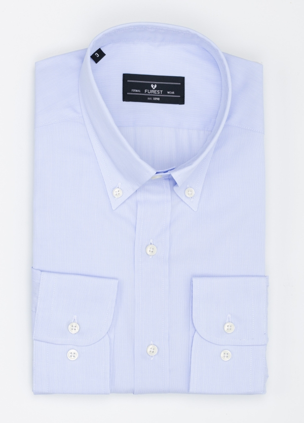 Camisa Formal Wear REGULAR FIT modelo BOTTON DOWN tejido pique color azul. 100% Algodón.