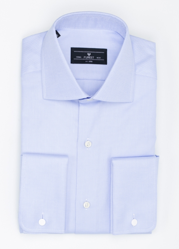 Camisa Formal Wear REGULAR FIT cuello italiano modelo TAILORED NAPOLI diseño oxford color azul, 100% Algodón.