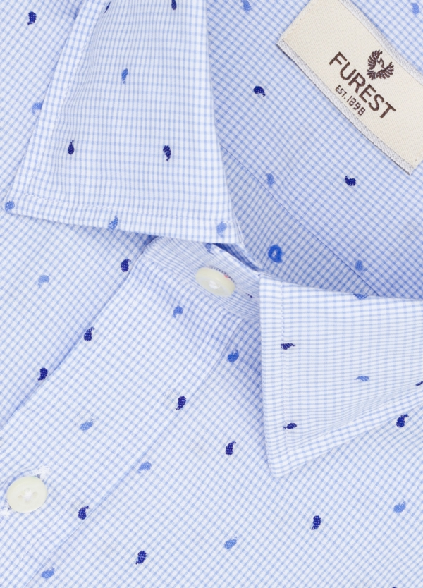 Camisa Leisure Wear SLIM FIT modelo PORTO microestampado color celeste. 100% Algodón. - Ítem1