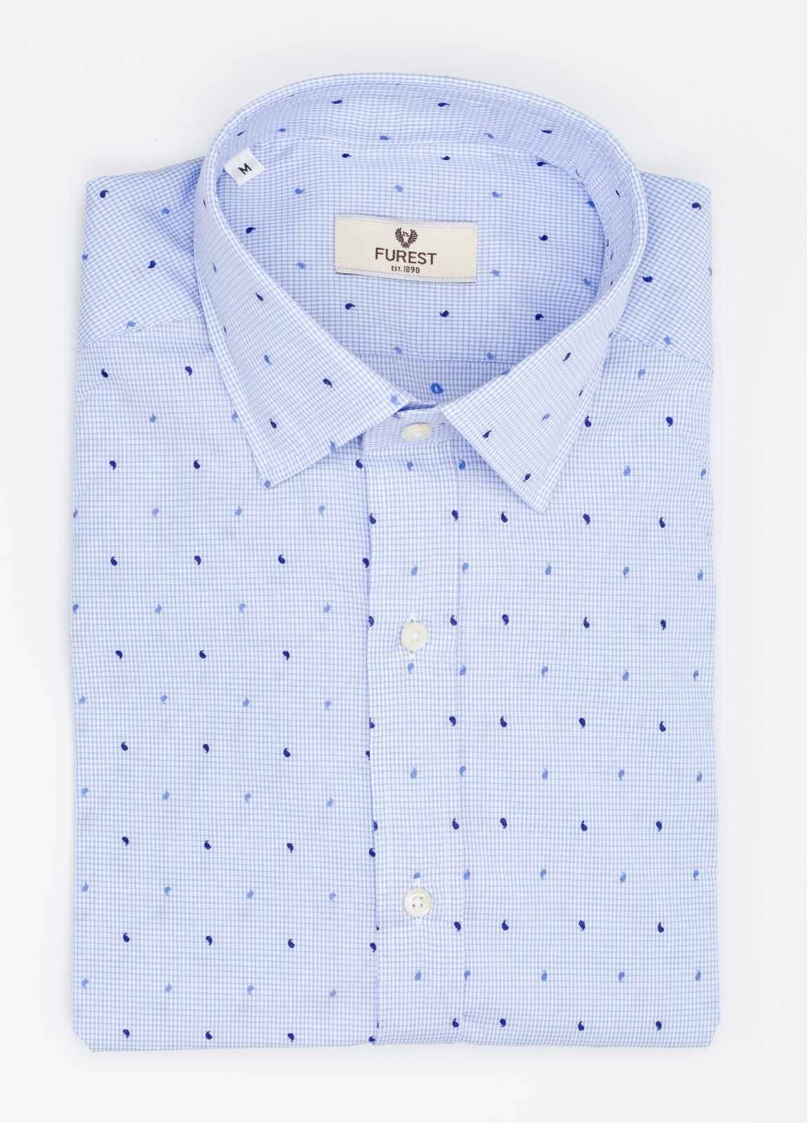 Camisa Leisure Wear SLIM FIT modelo PORTO microestampado color celeste. 100% Algodón.