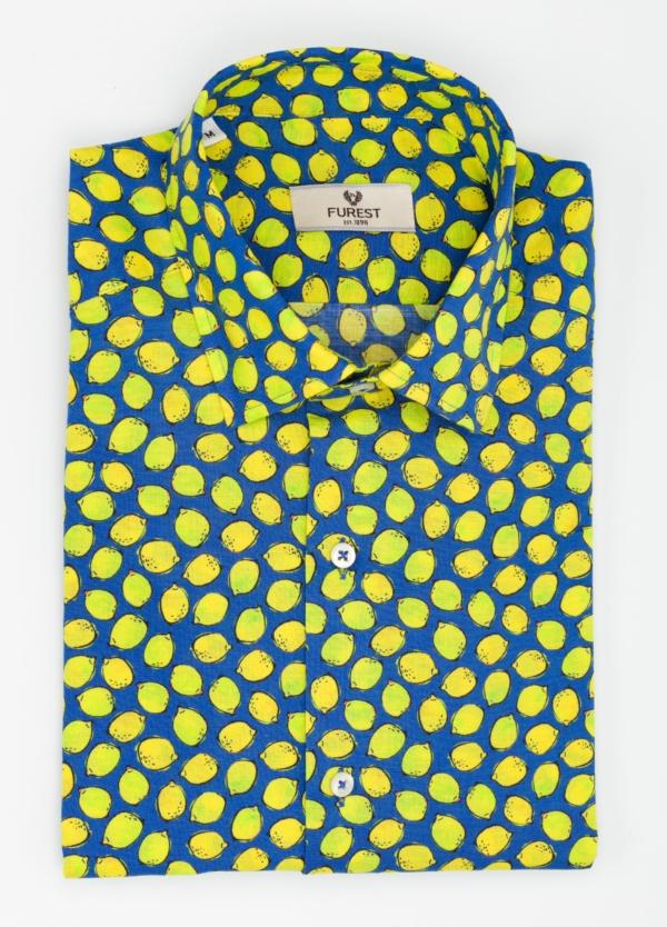 Camisa Leisure Wear SLIM FIT modelo PORTO estampado limones. 100% Algodón. - Ítem3