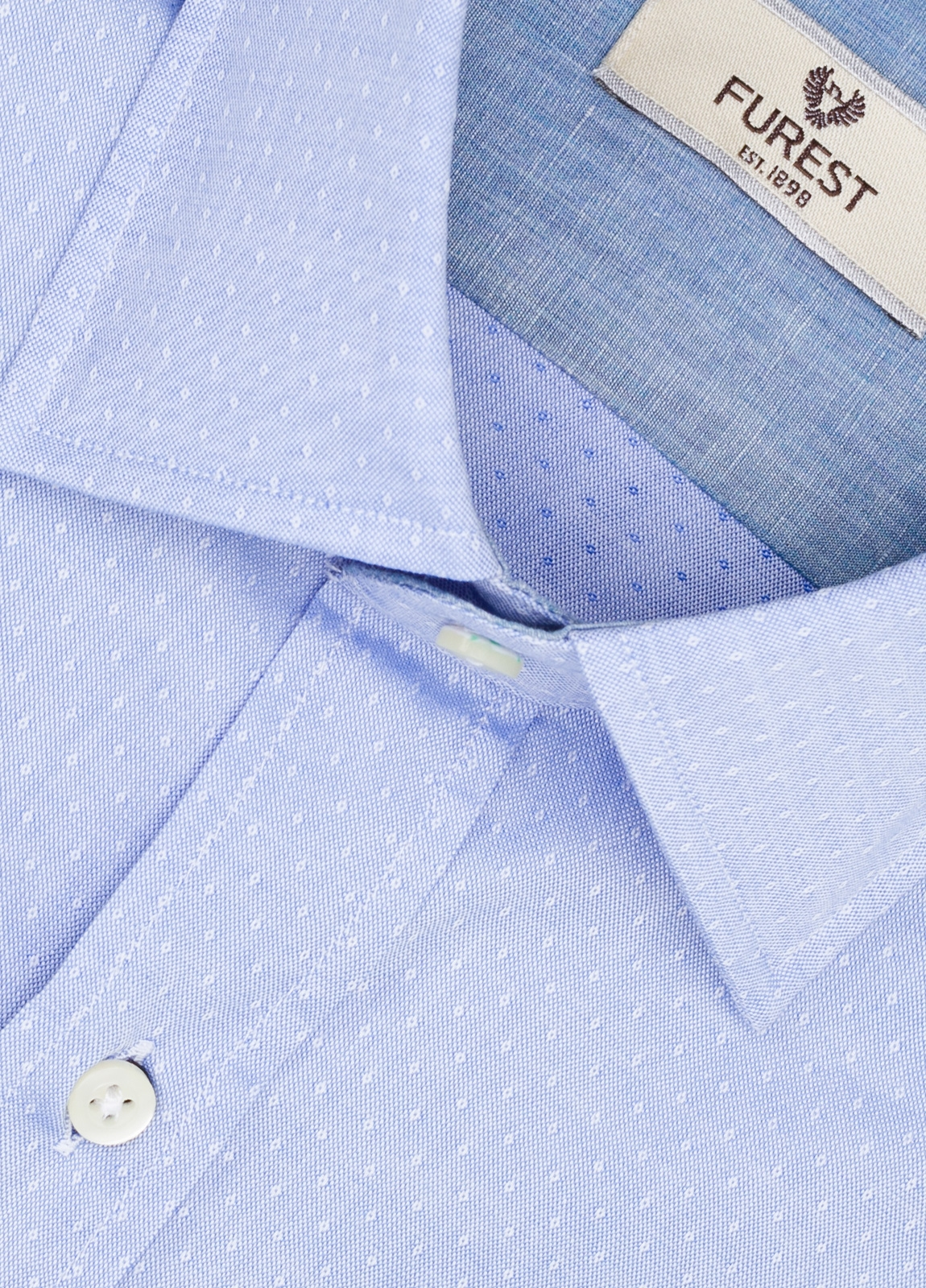 Camisa Leisure Wear REGULAR FIT modelo PORTO microestampado color azul. 100% Algodón. - Ítem1
