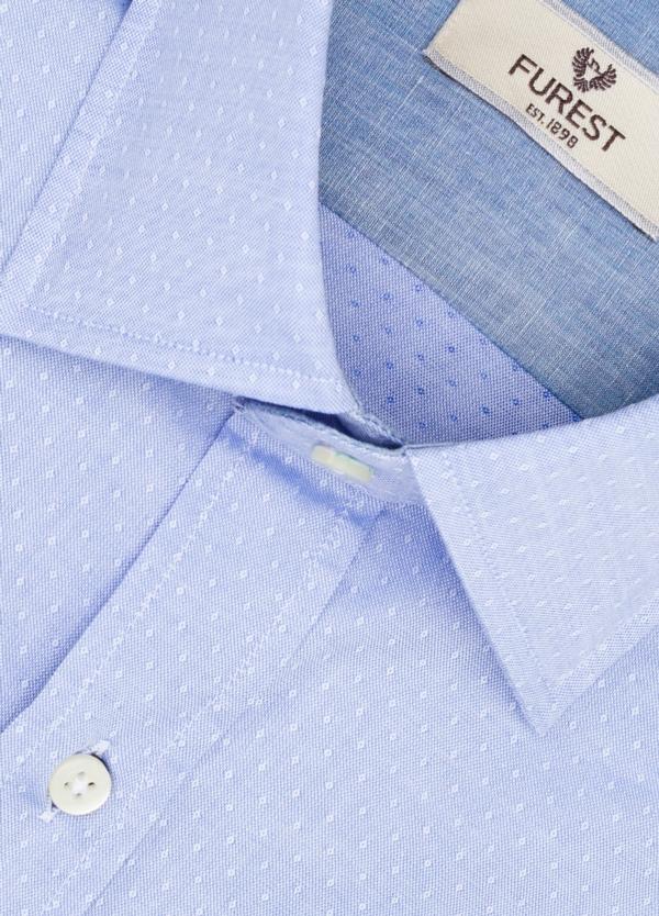 Camisa Leisure Wear REGULAR FIT modelo PORTO microestampado color azul. 100% Algodón. - Ítem1