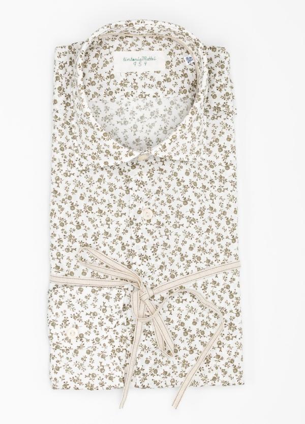 Camisa sport SLIM FIT con estampado floral color beige. 100% Algodón.