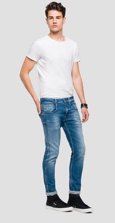 Pantalón tejano 12,5 oz SLIM 914J ANBASS color azul claro lavado. 78% Algodón 18% Modal 3% Elastomultiéster 1% Elastano. - Ítem2