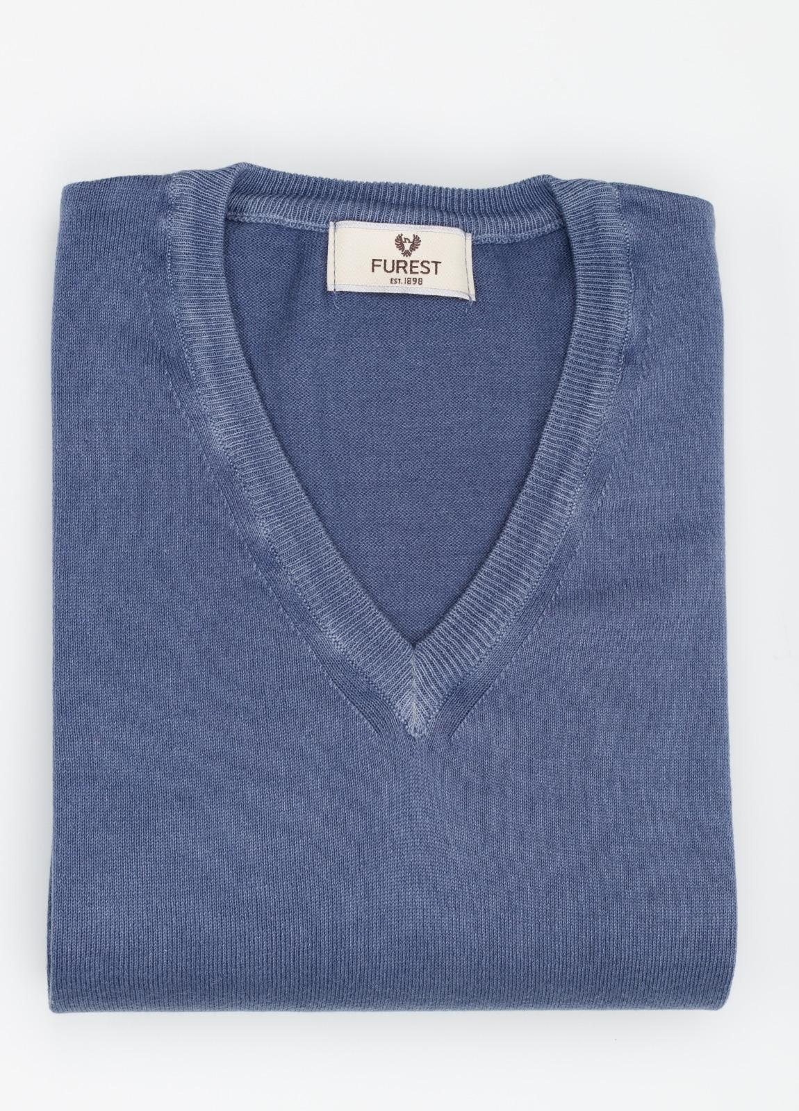 Jersey cuello pico color azul, 100% Algodón.