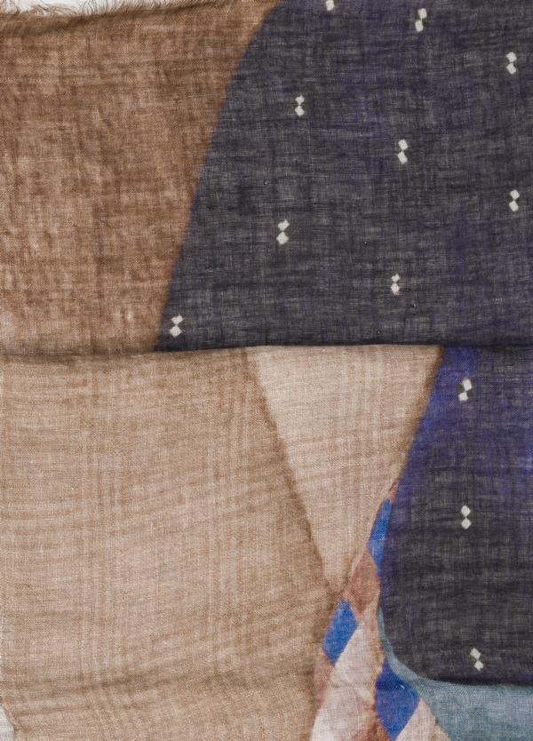 Foulard cuadro gales color tostado, 70 x 200 cm. 100% Lino. - Ítem1